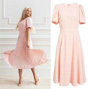 RACHEL PARCELL Pink Puff Sleeve Crepe Midi Dress